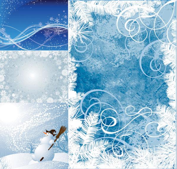 素材 背景 雪花/圣诞节冬天冬季雪花动感线条 松树叶 雪人雪景下雪矢量素材