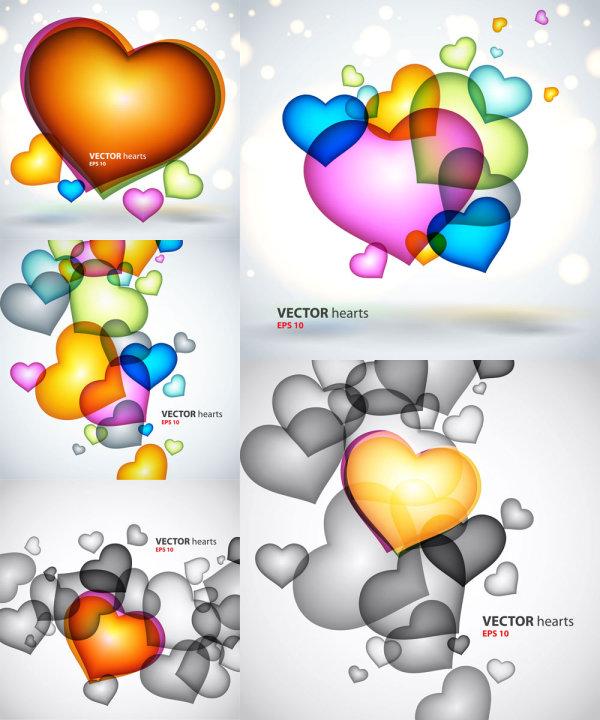 高光/彩色心型心新型 图案 高光光晕爱情爱心 背景 矢量素材 桃心