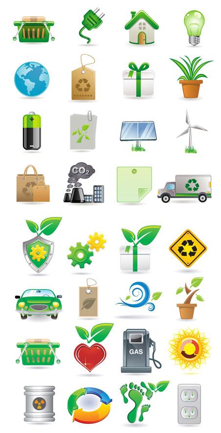 绿色 图标/绿色环保图标灯泡插座购物筐地球礼盒标签电池低碳手提袋...